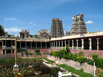 Hinduism in Tamil Nadu - Meenakshi Amman Temple in Madurai built by the Pandyans.