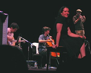 The Magnetic Fields - Magnetic Fields. From left to right: John Woo, Sam Davol, Claudia Gonson, Stephin Merritt.