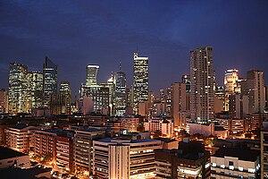 English: Makati CBD skyline at the start of dawn