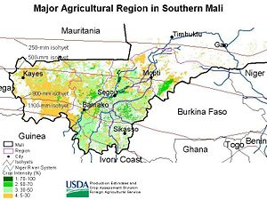 Major agricultural region in southern Mali, sh...