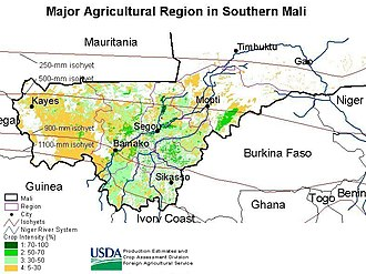 Economy of Mali - The major agricultural region in southern Mali, showing isohyet lines and crop intensity percentages. Mali's most productive agricultural region is located between Bamako and Mopti. Irrigation water is used mainly for rice while cotton is grown as a rainfed crop. (USDA: 2001)