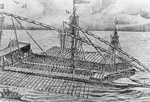 Cretan War (1645–1669) - A Maltese galley. Although being gradually replaced by sailing ships, galleys formed still a large part of the Mediterranean navies during the 17th century.