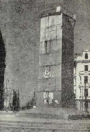 Minor sabotage - Kotwica graffito painted by Szare Szeregi on a monument at Warsaw's Union of Lublin Square