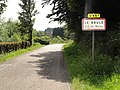 Malzy (Aisne) city limit sign Le Brulé.JPG