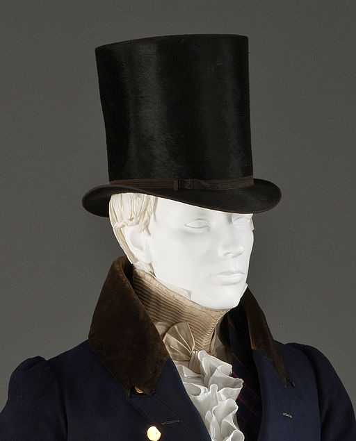 Man's tailcoat detail with stock and beaver top hat