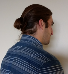 A typical modern style man bun.