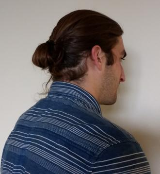 Bun (hairstyle) - A typical modern style man bun.