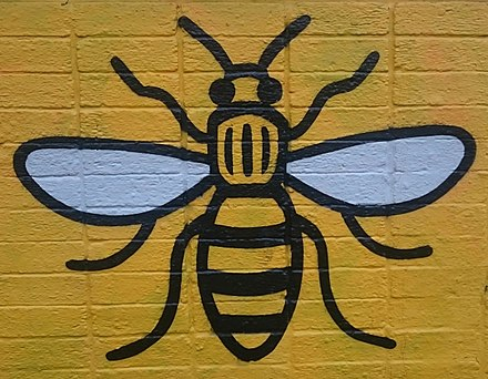 Manchester bee art in the Northern Quarter Manchester bee 2 (cropped).jpg