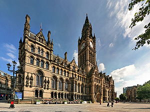 Rate-capping rebellion - Manchester town hall, in front of which a rally was held in March 1985 to oppose rate-capping.