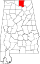 Map of Alabama highlighting Madison County.svg