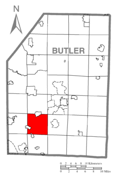 Map of Forward Township, Butler County, Pennsylvania Highlighted.png