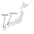 Map of Japan marking Nagasaki and Hiroshima with text.png