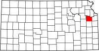 Map of Канзас highlighting Douglas County