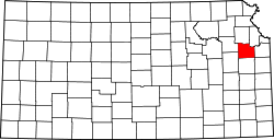 map of Kansas highlighting Douglas County