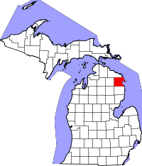 Map of Michigan highlighting Alpena County.svg