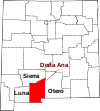 State map highlighting Doña Ana County