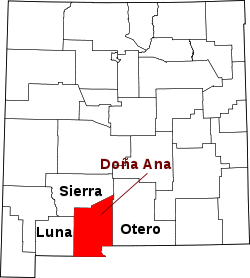Map of New Mexico highlighting Doña Ana County.svg