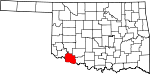 State map highlighting Tillman County