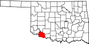 Map of Oklahoma highlighting Tillman County.svg