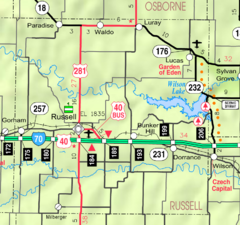 Map of Russell Co, Ks, USA.png