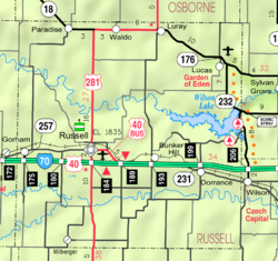 KDOT map of Russell County (legend)