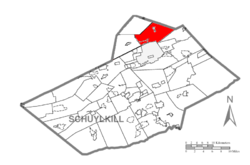 Map of Schuylkill County, Pennsylvania Highlighting East Union Township
