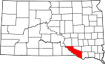 State map highlighting Charles Mix County