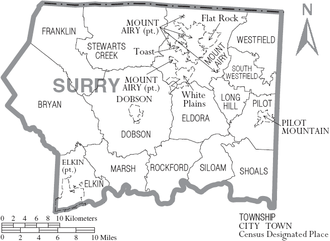 Surry County, North Carolina - Map of Surry County, North Carolina With Municipal and Township Labels