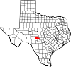 State map highlighting Kimble County