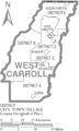 Map of West Carroll Parish Louisiana With Municipal and District Labels.PNG