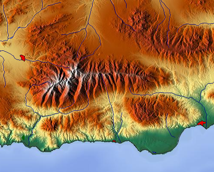 Relief map Sierra Nevada Maps-for-free Sierra Nevada.png