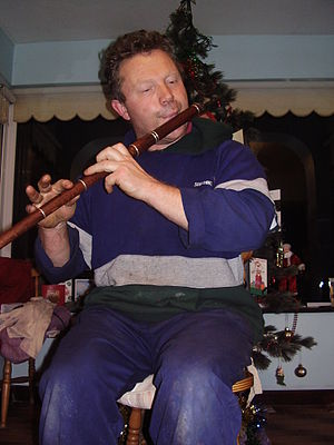 Marcus Hernon - Marcus Hernon playing an Eb flute made from Snakewood.