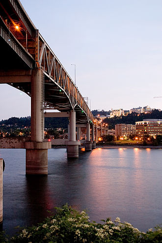 Marquam Bridge - A view of the bridge at dusk