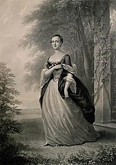 Un entresuelo de Martha Washington, de pie, con un traje formal, basado en un retrato de 1757 de John Wollaston