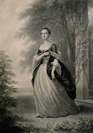 George Washington - A mezzotint of Martha Washington, based on a 1757 portrait by Wollaston