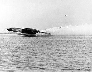 Martin P6M SeaMaster - P6M-2 illustrating takeoff spray pattern