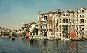 Martín Rico -  A view of the Palazzo Cavalli-Franchetti and Palazzo Barbaro on the Grand Canal