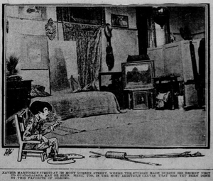 Xavier Martínez - Photo of Martinez's studio with a caricature of the artist, San Francisco Call, 30 July 1905