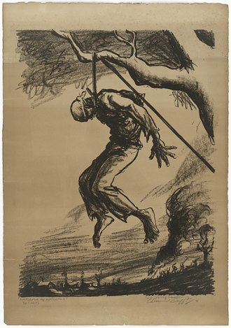 Edmund Duffy - Maryland, My Maryland!, a lithograph from ca. 1931, depicts the lynching of Matthew Williams.