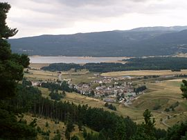 A general view of Matemale, with the lake in the background