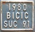 Matrícula automovilística Chile 1980 bicicleta SUC 91 Flickr - woody1778a.jpg