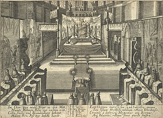 Imperial election - The election of Matthias as Roman-German Emperor by the prince electors in 1612 depicted on a contemporary engraving