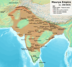 Territories of the Maurya Empire conceptualized as core areas or linear networks separated by large autonomous regions in the works of scholars such as: historians Hermann Kulke and Dietmar Rothermund;[1] Burton Stein;[2] David Ludden;[3] and Romila Thapar;[4] anthropologists Monica L. Smith[5] and Stanley Tambiah;[4] archaeologist Robin Coningham;[4] and historical demographer Tim Dyson.[6]