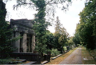 Weißensee cemetery - Example of the art nouveau mausoleums which run round the edge of the cemetery