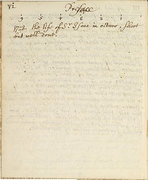 Page from Memoirs of Sir Isaac Newton's life, ...