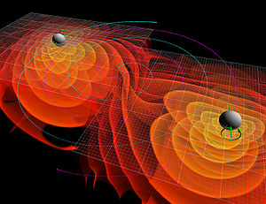 First observation of gravitational waves - Simulation of merging black holes radiating gravitational waves.