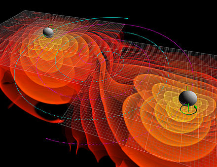 Simulation of merging black holes radiating gravitational waves MergingBlackHoles V2.jpg