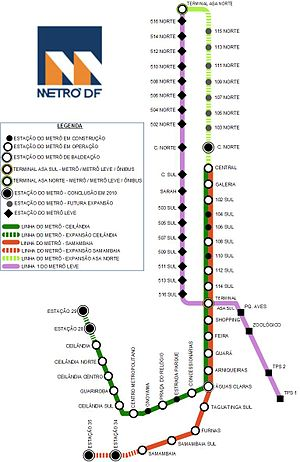 Brasília Metro - Map of the planned system. Black dots indicate unopened stations.