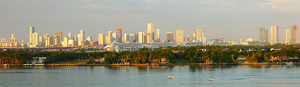 Downtown Miami skyline as seen from Biscayne Bay to the east