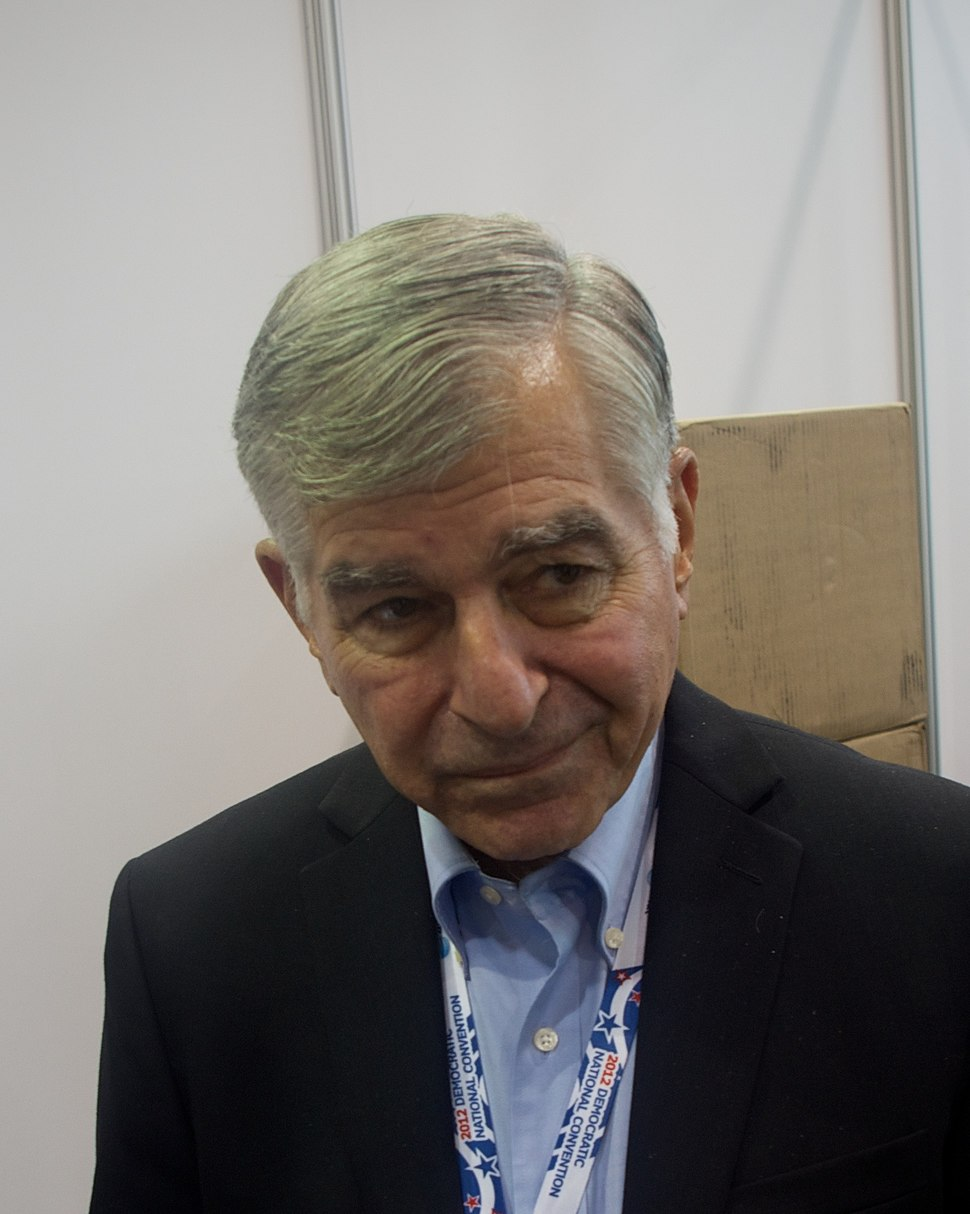 Michael dukakis talks to reporters (cropped)